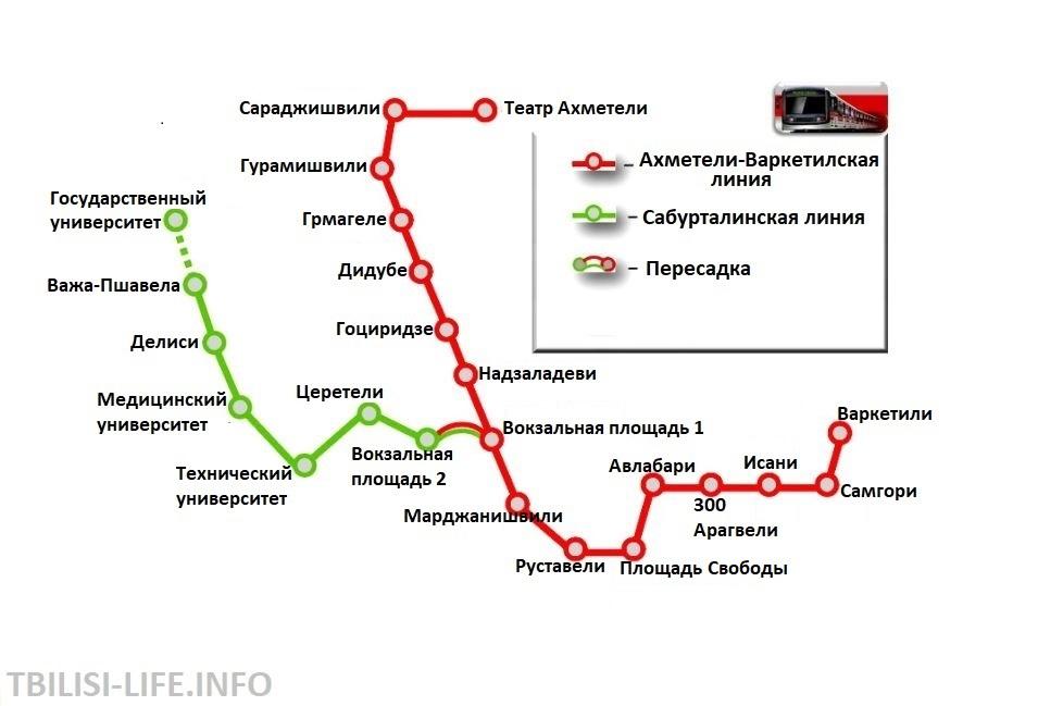Схема метро Тбилиси на русском языке